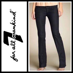 7 for all Mankind dark, straight leg jean crystals